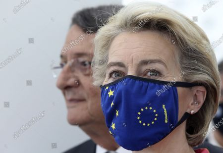 European Commission president Ursula von der Leyen, right, and Cyprus President Nicos Anastasiades are seen during a presentation event for the Cyprus Recovery and Resilience Plan at the University of Cyprus, in Nicosia, on . Leyen is in Cyprus for two-day visit