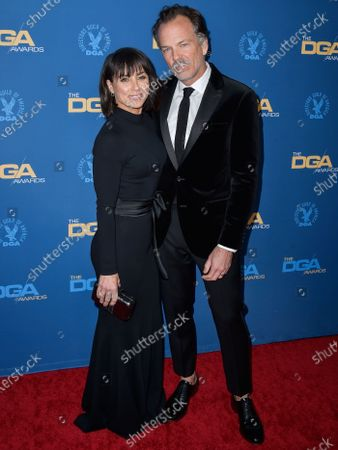 Constance Zimmer and Russ Lamoureux arrive at the 72nd Annual Directors Guild Of America Awards held at The Ritz-Carlton Hotel at L.A. Live on January 25, 2020 in Los Angeles, California, United States.