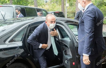 Stock Picture of Turkish Foreign Affairs Minister Mevlut Cavusoglu (L) arrives for a meeting at Government House in Helsinki, Finland, 08 July 2021. Cavusoglu is on an official visit to Finland.