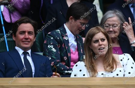 Princess Beatrice, with her husband Edoardo Mapelli Mozzi, arrive for the Women's semi final match Ashleigh Barty of Australia against Angelique Kerber of Germany at the Wimbledon Championships tennis tournament, Wimbledon, Britain, 08 July 2021.