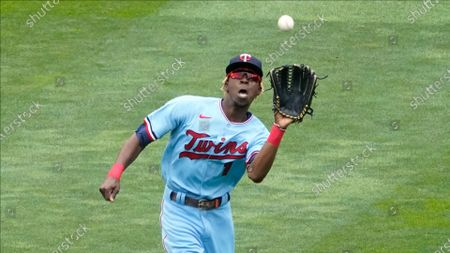 Stock Picture of Minnesota Twins center fielder Nick Gordon fields a fly ball against the Chicago White Sox in a baseball game, in Minneapolis