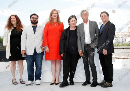 Julie Goldman, cutter Adam Kurnitz, producers Carolyn Hepburn and Christine Vachon along with director Todd Haynesnand producer Christopher Clements pose during the photocall for 'The Velvet Underground' at the 74th annual Cannes Film Festival, in Cannes, France, 08 July 2021. The movie is presented in the Official Competition of the festival which runs from 06 to 17 July.