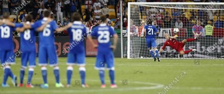 """Italy's Andrea Pirlo scores in a penalty shootout during the Euro 2012 soccer championship quarterfinal match between England and Italy in Kiev, Ukraine. Pirlo's """"Panenka,"""" Schillaci's Golden Boot clincher and another emotional goal celebration from Marco Tardelli. The major-tournament rivalry between Italy and England has been marked by a few stand-out moments and they all belong to the Italians. England might have home advantage in the Euro 2020 final between the teams at Wembley Stadium on Sunday, July 11, 2021 but Italy has the edge historically"""