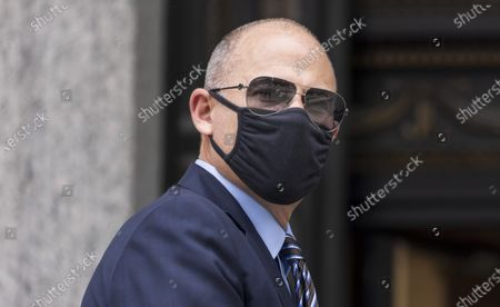 Stock Picture of Attorney Michael Avenatti, who once represented adult-film actress Stormy Daniels in her lawsuits against former US President Donald Trump, arrives to United States Federal Court for a sentencing hearing in New York, New York, USA, 08 July 2021. Avenatti was convicted last year for trying to extort money from the company Nike.
