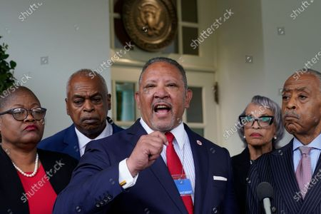 Marc Morial, center, President and Chief Executive Officer of the National Urban League, talks with reporters outside the West Wing of the White House in Washington, following a meeting with President Joe Biden and leadership of top civil rights organizations