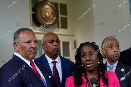 Stock Image of Sherrilyn Ifill, second from right, of the NAACP Legal Defense Fund, speaks with reporters outside the West Wing of the White House in Washington, following a meeting with President Joe Biden and leadership of top civil rights organizations. She is joined by, from left, Marc Morial, President and Chief Executive Officer of the National Urban League, Wade Henderson of the Leadership Conference for Civil & Human Rights, and the Rev. Al Sharpton