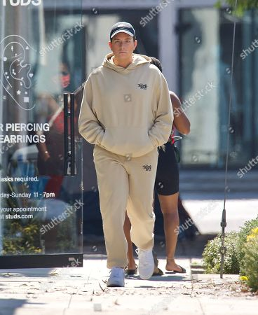 Editorial photo of Singer Cameron Hardy Spotted Grabbing a Coffee at Alfred's in West Hollywood Wearing Local Love Club Sweatsuit, Los Angeles, California, USA - 08 Jul 2021