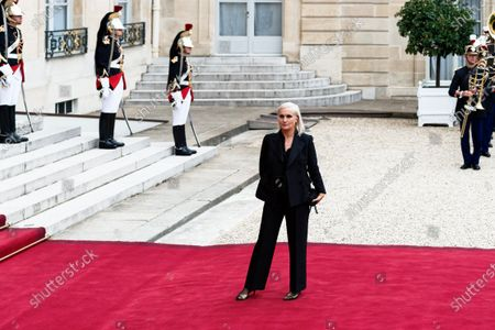 Christian Dior's Italian fashion designer Maria Grazia Chiuri  arrives for state diner with Italian President Sergio Mattarella and his daughter Laura Mattarella and French President Emmanuel Macron and his wife Brigitte Macron at the Elysee Palace in Paris, on July 5, 2021