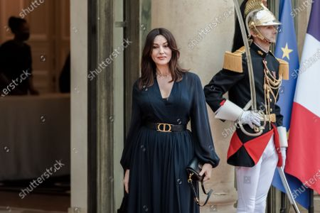 FRANCE - ITALY - PARIS - PRESIDENT - MATTARELLA - MACRON - POLITICS - Actress Monica Bellucci arrives for state diner with Italian President Sergio Mattarella and his daughter Laura Mattarella and French President Emmanuel Macron and his wife Brigitte Macron at the Elysee Palace in Paris, on July 5, 2021