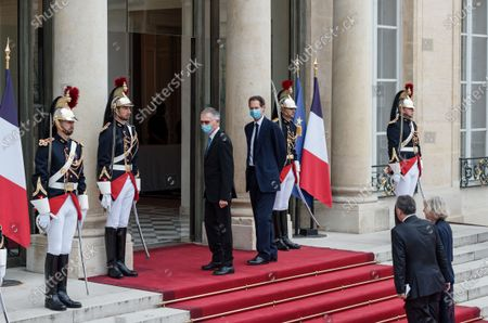 FRANCE - ITALY - PARIS - PRESIDENT - MATTARELLA - MACRON - POLITICS - Fiat Chrysler Automobiles (FCA) Chairman John Elkann (L) and Chairman of the Management Board of PSA group and CEO of Stellantis Carlos Tavares (R) arrive for state diner with Italian President Sergio Mattarella and his daughter Laura Mattarella and French President Emmanuel Macron and his wife Brigitte Macron at the Elysee Palace in Paris, on July 5, 2021