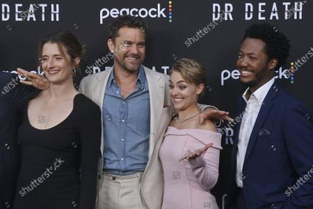 """Cast members Grace Gummer, Joshua Jackson, AnnaSophia Robb and Hubert Point-Du Jour (L-R) gather for a photo-op during the premiere of Peacock's new crime thriller series """"Dr. Death"""" at NeueHouse in Los Angeles on Thursday, July 8, 2021. Storyline: As patients entering the operating room of Dr. Christopher Duntsch for routine spinal surgeries start leaving permanently maimed or dead, two fellow surgeons and a young Assistant District Attorney set out to stop him."""