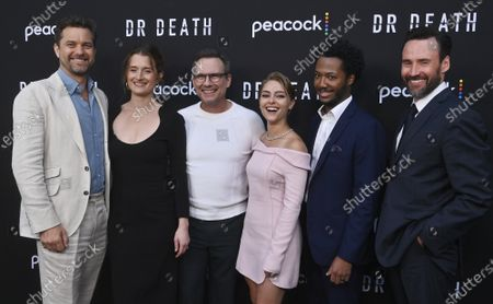 """Stock Image of Cast members Joshua Jackson, Grace Gummer, Christian Slater, AnnaSophia Robb, Hubert Point-Du Jour and Patrick Macmanus (L-R) gather for a photo-op during the premiere of Peacock's new crime thriller series """"Dr. Death"""" at NeueHouse in Los Angeles on Thursday, July 8, 2021. Storyline: As patients entering the operating room of Dr. Christopher Duntsch for routine spinal surgeries start leaving permanently maimed or dead, two fellow surgeons and a young Assistant District Attorney set out to stop him."""