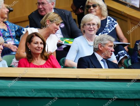 Carole Middleton and Michael Middleton in the Royal Box on Centre Court