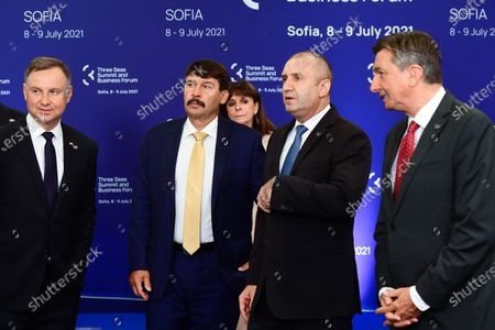 Presidents Andrzej Duda of Poland, Janos Ader of Hungary, Rumen Radev of Bulgaria and Borut Pahor of Slovenia (L-R) prepare for the family photo during the two-day Three Seas Summit and Business Forum in Sofia, Bulgaria, 09 July 2021.