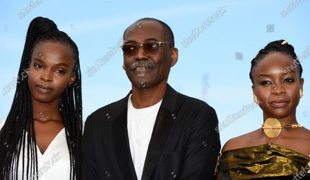 Rihane Khalil Alio, Mahamat-Saleh Haroun, Achouackh Abakar Souleymane pose during the photocall for 'Lingui' at the 74th annual Cannes Film Festival, in Cannes, France, 09 July 2021. The movie is presented in the Official Competition of the festival which runs from 06 to 17 July.