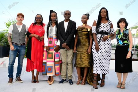 Mathieu Giombini, Hadje Fatime Ngoua, Rihane Khalil Alio, Mahamat-Saleh Haroun, Achouackh Abakar Souleymane, Bria Gomdigue and Florence Stern pose during the photocall for 'Lingui' at the 74th annual Cannes Film Festival, in Cannes, France, 09 July 2021. The movie is presented in the Official Competition of the festival which runs from 06 to 17 July.