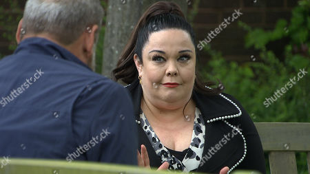 Emmerdale - Ep 9099 Wednesday 14th July 2021 Mandy Dingle, as played by Lisa Riley, reads Jimmy King's, as played by Nick Miles, the speech she's prepared for the judge, he's overcome with guilt and gratitude, and clumsily leans in for a kiss. Mandy returns the kiss before they spring apart.