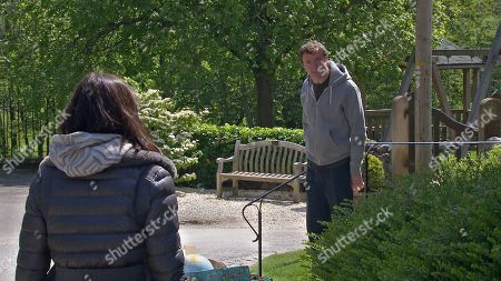 Emmerdale - Ep 9103 Monday 19th July 2021  Leyla Cavanagh's, as played by Rokhsaneh Ghawam-Shahidi, concerned to see Liam Cavanagh, as played by Jonny McPherson, piling bin bags of Leanna's belongings outside. Furious with Meena Jutla, as played by Paige Sandhu, for suggesting such an idea.
