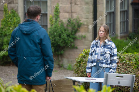 Stock Picture of Emmerdale - Ep 9098 Tuesday 13th July 2021 Liv Flaherty, as played by Isobel Steele, struggles with her overwhelming shame, guilt and despair. Also pictured - Vinny Dingle, as played by Bradley Johnson.