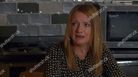Stock Picture of Emmerdale - Ep 9108 Friday 23th July 2021 Tearful Nicola King, as played by Nicola Wheeler, tells Rodney Blackstock her news.