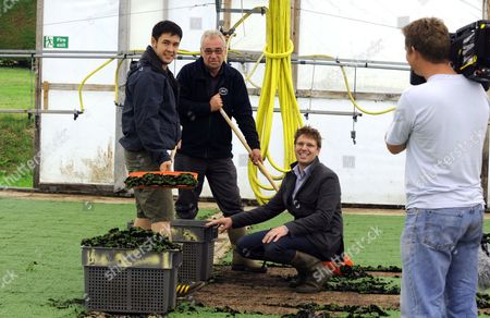 James Wong filming watercress growing