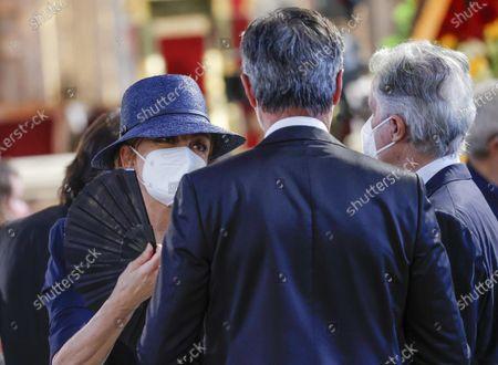 Italian television presenter Milly Carlucci (L) attends Raffaella Carra's funeral ceremony in the basilica of Santa Maria in Ara Coeli, in Rome, Italy, 09 July 2021. Italian TV icon and entertainment legend Raffaella Carra died on 05 July 2021 at the age of 78.