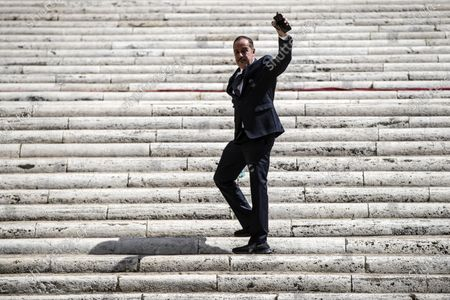 Italian television personality Massimo Lopez arrives for Raffaella Carra's funeral ceremony at the basilica of Santa Maria in Ara Coeli, in Rome, Italy, 09 July 2021. Italian TV icon and entertainment legend Raffaella Carra died on 05 July 2021 at the age of 78.