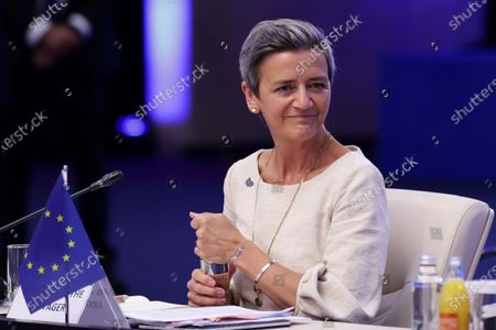 Stock Photo of Executive Vice President of the European Commission Margrethe Vestager attends Opening of the Three Seas Summit and Business Forum.