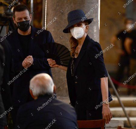 Milly Carlucci attends at the funeral of Raffaella Carra' at Ara Coeli Church in Rome