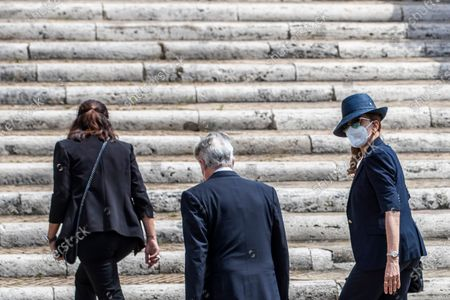 Stock Photo of Milly Carlucci arrives at the funeral of Raffaella Carra' in the Ara Coeli Church in Rome