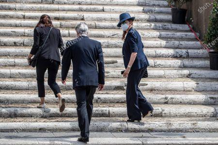 Milly Carlucci arrives at the funeral of Raffaella Carra' in the Ara Coeli Church in Rome