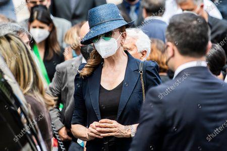 Milly Carlucci attends at the funeral of Raffaella Carra' in the Ara Coeli Church in Rome