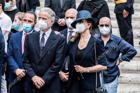 Stock Picture of Milly Carlucci attends at the funeral of Raffaella Carra' in the Ara Coeli Church in Rome