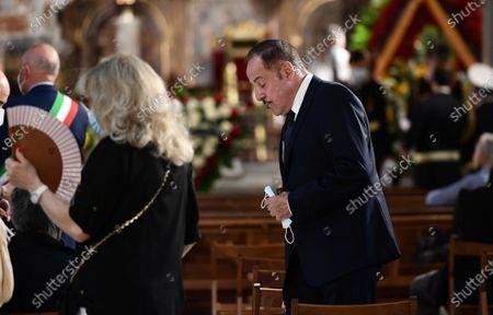 Stock Image of Massimo Lopez attends at the funeral of Raffaella Carra' at Ara Coeli Church in Rome