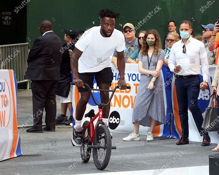Nigel Sylvester, BMX Athlete, on GMA3 promoting the Nigel Sylvester Foundation to help the underserved community and help give out free bikes to kids on July 08, 2021 in New York City.