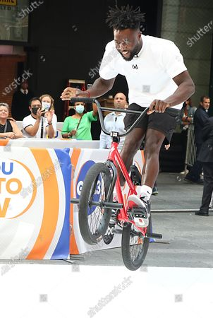 Stock Photo of Nigel Sylvester, BMX Athlete, on GMA3 promoting the Nigel Sylvester Foundation to help the underserved community and help give out free bikes to kids on July 08, 2021 in New York City.