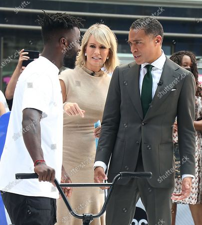 T.J. Holmes, Dr. Jennifer Ashton. Nigel Sylvester, BMX Athlete, on GMA3 promoting the Nigel Sylvester Foundation to help the underserved community and help give out free bikes to kids on July 08, 2021 in New York City.