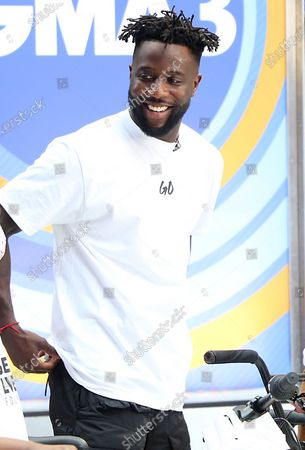 Stock Picture of Nigel Sylvester, BMX Athlete, on GMA3 promoting the Nigel Sylvester Foundation to help the underserved community and help give out free bikes to kids on July 08, 2021 in New York City.