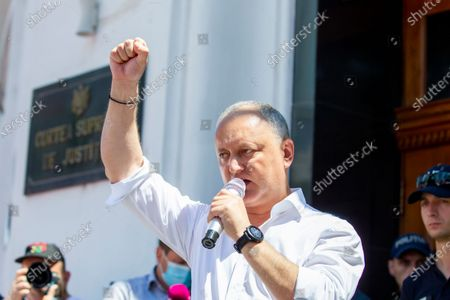 Former Moldova president Igor Dodon, head of the Socialists and communists electoral block, speaks during a protest in front of the Supreme Court of Justice in Chisinau, Moldova, 09 July 2021. Protesters ask to revoke the court order to close all polling stations in the Transnistrian region as parliamentary elections are held on 11 July 2021.