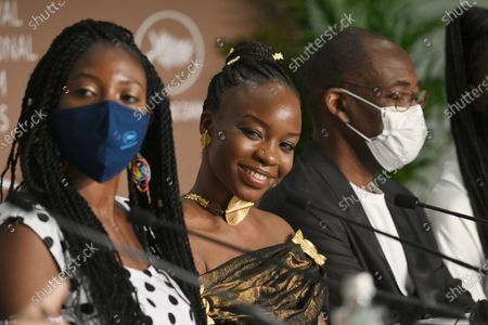 Bria Gomdigue, Achouackh Abakar Souleymane and Mahamat-Saleh Haroun attend the 'Lingui' press conference during the 74th annual Cannes Film Festival, in Cannes, France, 09 July 2021. The movie is presented in the Official Competition of the festival which runs from 06 to 17 July.