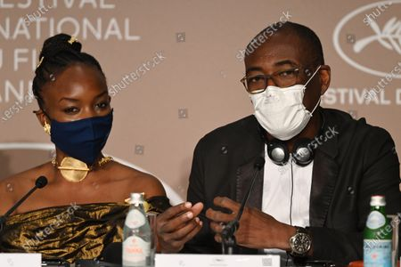 Achouackh Abakar Souleymane and Mahamat-Saleh Haroun attend the 'Lingui' press conference during the 74th annual Cannes Film Festival, in Cannes, France, 09 July 2021. The movie is presented in the Official Competition of the festival which runs from 06 to 17 July.