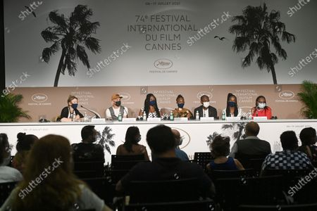 (2L-R) Mathieu Giombini, Bria Gomdigue, Achouackh Abakar Souleymane, Mahamat-Saleh Haroun,  Rihane Khalil Alio and Hadje Fatime Ngoua attend the 'Lingui' press conference during the 74th annual Cannes Film Festival, in Cannes, France, 09 July 2021. The movie is presented in the Official Competition of the festival which runs from 06 to 17 July.