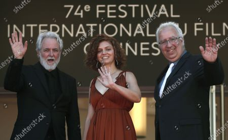 Ari Folman, Lena Guberman, and Yoni Goodman arrive for the screening of 'Where Is Anne Frank' during the 74th annual Cannes Film Festival, in Cannes, France, 09 July 2021. The movie is presented in Out of Competition at the festival which runs from 06 to 17 July.
