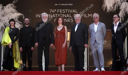 Karen O, Ben Goldwasser, director Ari Folman, Lena Guberman, Yoni Goodman, and guests arrive for the screening of 'Where Is Anne Frank' during the 74th annual Cannes Film Festival, in Cannes, France, 09 July 2021. The movie is presented in Out of Competition at the festival which runs from 06 to 17 July.