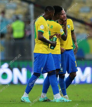 Vinícius Jr. and Neymar of Brazil disappointed to lose the final by a score of 0-1; 10th July 2021, Estádio do Maracanã, Rio de Janeiro, Brazil. Copa America tournament final, Argentina versus Brazil.