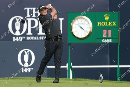 Patrick Reed (USA) hits his driver from the tee at the 1st hole; Royal St Georges Golf Club, Sandwich, Kent, England; The Open Championship Tour Golf, Day Two.