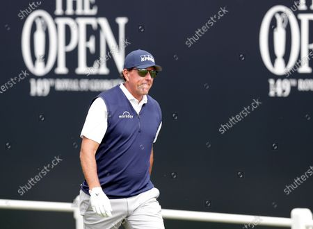 Phil Mickelson (USA) walks from the first tee; Royal St Georges Golf Club, Sandwich, Kent, England; The Open Championship Tour Golf, Day Two.
