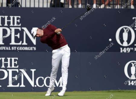 Justin Thomas (USA) hits his driver from the 1st tee; Royal St Georges Golf Club, Sandwich, Kent, England; The Open Championship Tour Golf, Day Two.