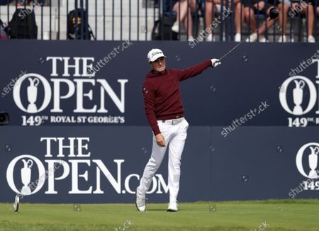 Justin Thomas (USA) signals the direction of his drive from the 1st tee; Royal St Georges Golf Club, Sandwich, Kent, England; The Open Championship Tour Golf, Day Two.
