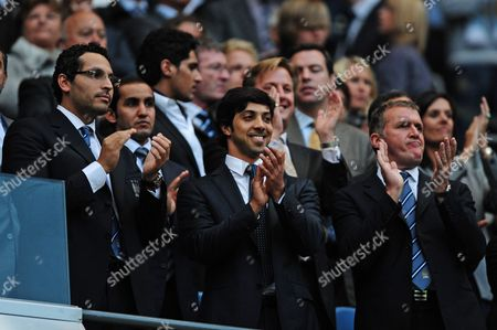 L-R Manchester City Chairman Khaldoon Al Mubarak, owner Sheikh Mansour, on his first visit to the City of Manchester Stadium and Chief Executive Garry Cook
